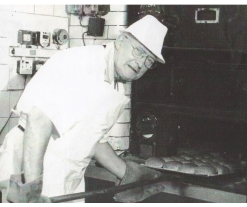 CO-FOUNDER RONALD CAMPBELL MACLEAN - showing his skills at the oven, at the old bakery at 61 High Street.