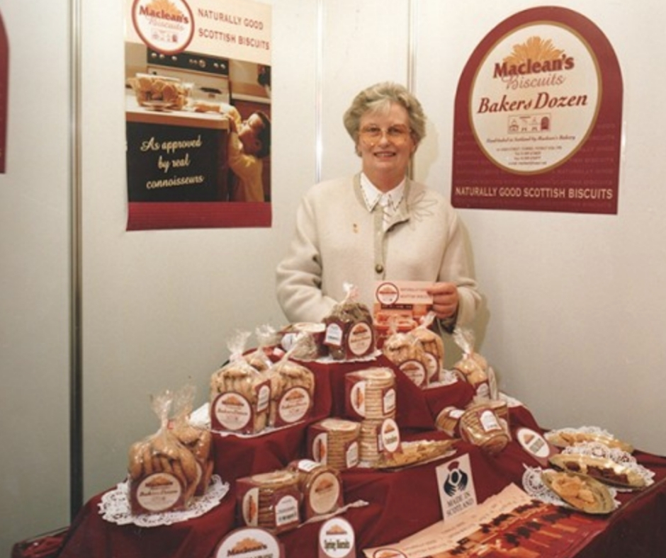 MACLEAN'S First Exhibition - Co Founder Margaret Maclean at Macleans first ever exhibition selling biscuits 1996